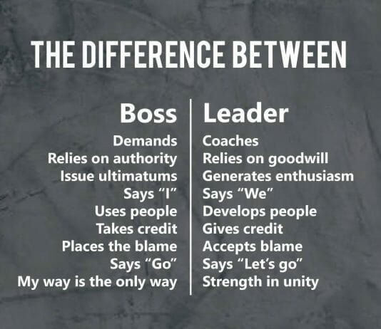 Difference between a boss and leader